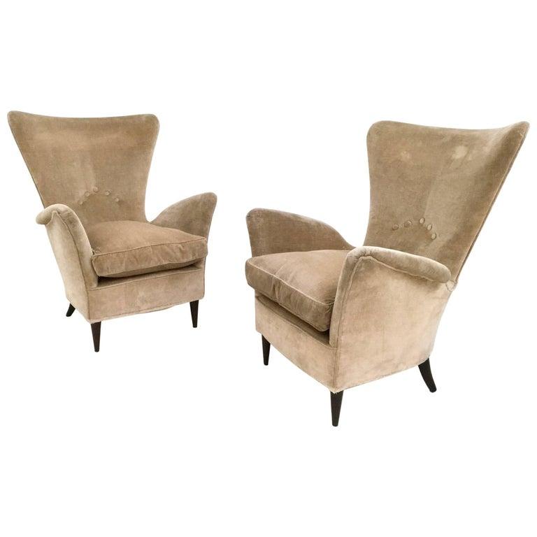 Pair of Beige Velvet Armchairs, Italy, 1950s