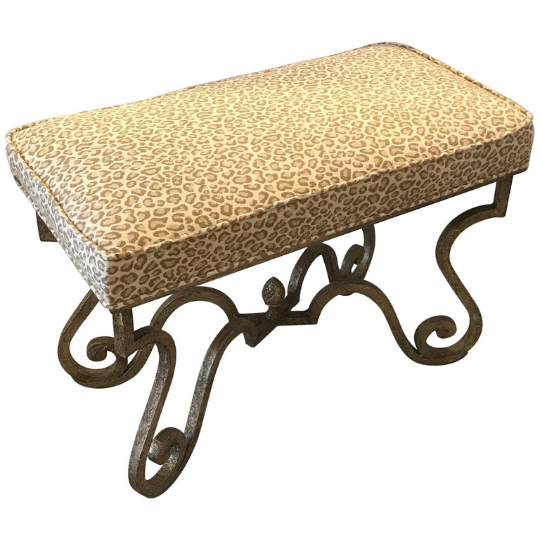 Painted Iron Bench with Faux Cheetah Upholstrey