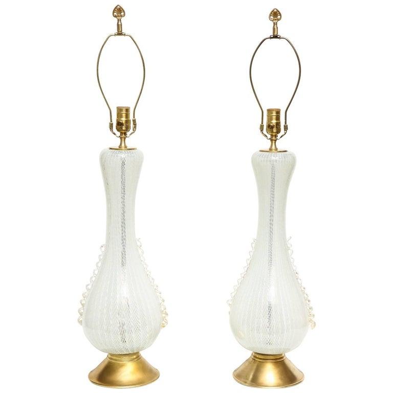 Pair of Midcentury Italian Murano Glass Table Lamps