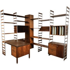 Epic Midcentury Modular Walnut and Aluminium Wall Unit with Desk, Record Storage