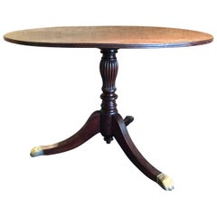 Vintage Wooden Round Dining Table Lions on the Brass Feet, 1940, Italy