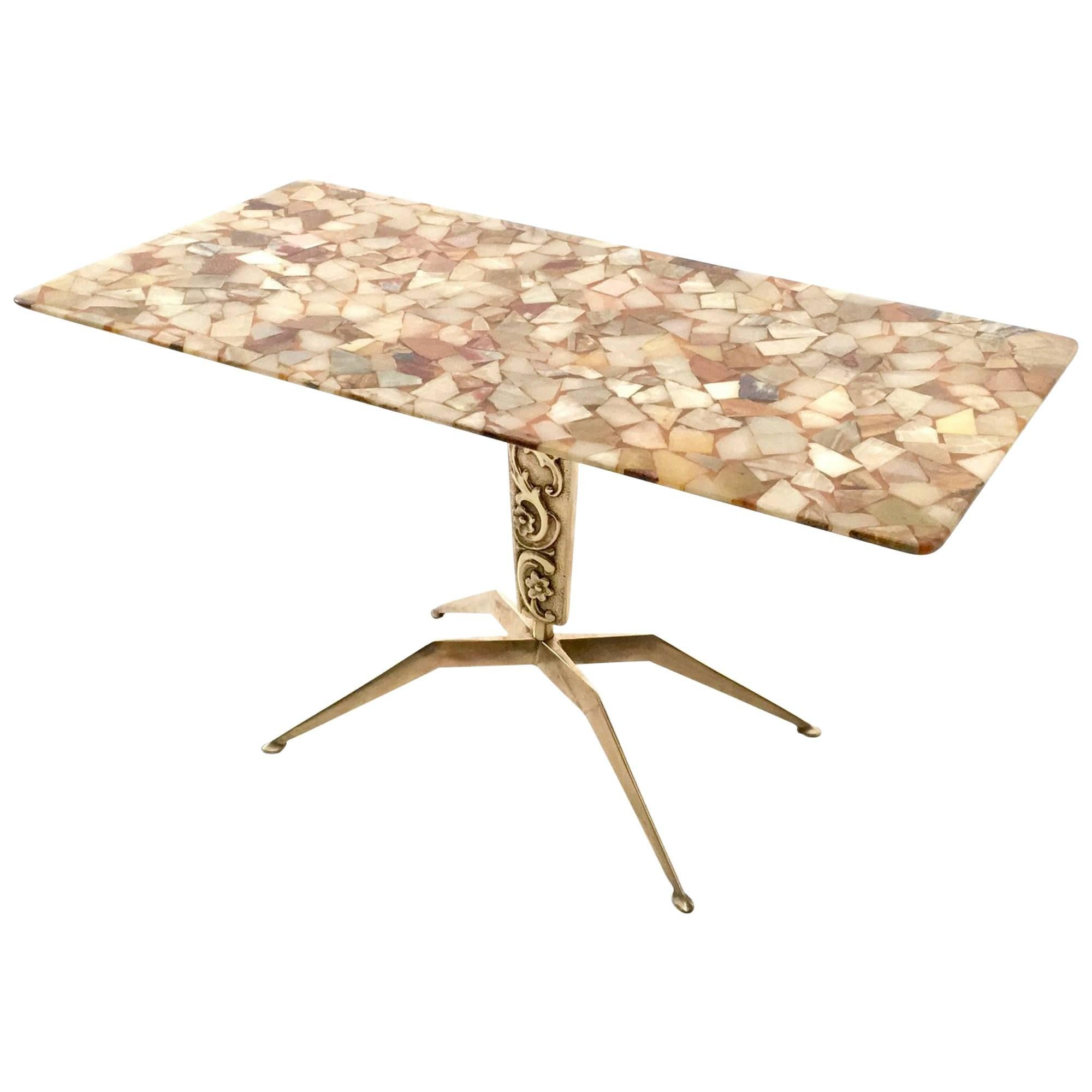 Bronze Coffee Table with a Marble Top, Italy, 1950s