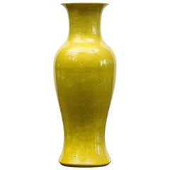 Late 19th Century Porcelain, Pistachio Green, Crackled Glaze Baluster Vase