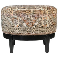 Vintage Oval Stool Newly Upholstered in Vintage Rug