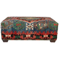 Custom-Made Ottoman Bench Using a Vintage Wool Kilim Rug with Nailhead Trim