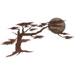 Vintage Iron Wall Sculpture of Tree and Moon