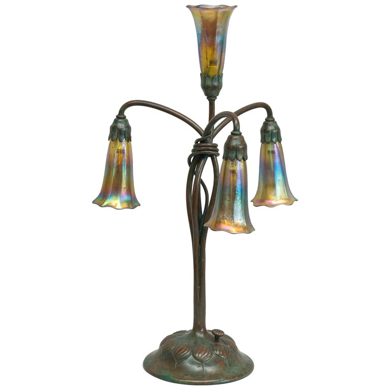 Tiffany Studios Four-Light Lily Table Lamp