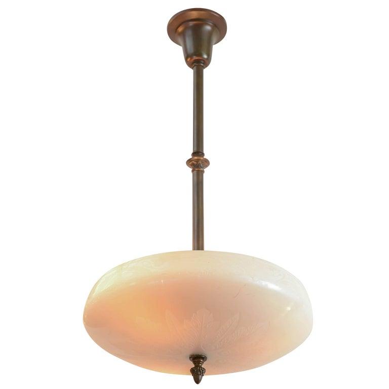 Steuben Calcite Glass Pendant or Bowl Chandelier