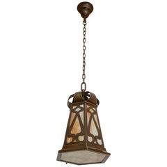 Arts & Crafts Pendant Chandelier with Stained Glass Panels