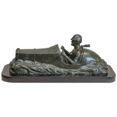 Large Antique Bronze Figure of a Race Car with Driver