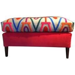 Soft Ottoman Pouff Cushion Artisanal Multi-Color Made in Italy Pierre Frey Etro