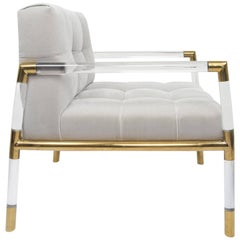 Mid-Century Modern Button Tufted Chair with Brass and Lucite Frame