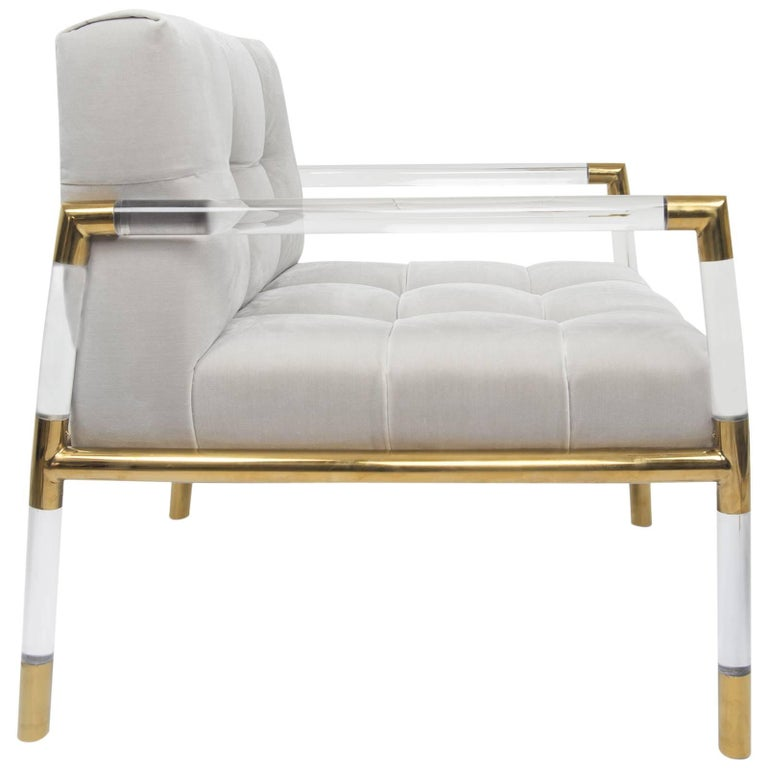 Mid-Century Modern Button Tufted Chair with Brass and Lucite Frame For Sale