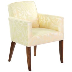 French Art Deco Rosewood Armchair in Yellow Damask over Sabre Legs, circa 1935