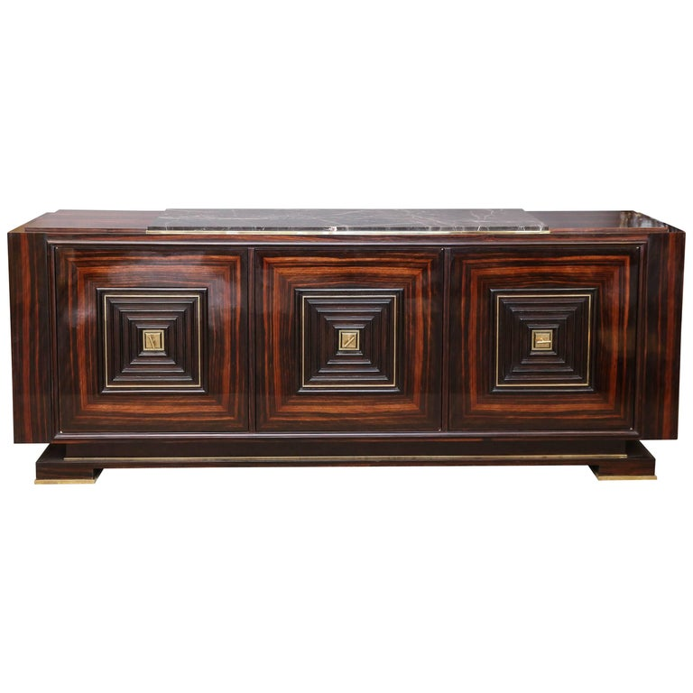 Art Deco French Sideboard in Macassar with Marble Top Attributed to Maxime Old