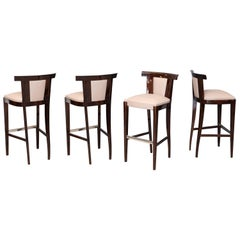 Four Midcentury French Bar Stools in Walnut