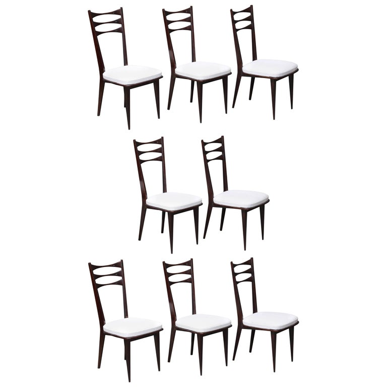 Set of Eight Italian Midcentury Dinning Chairs For Sale