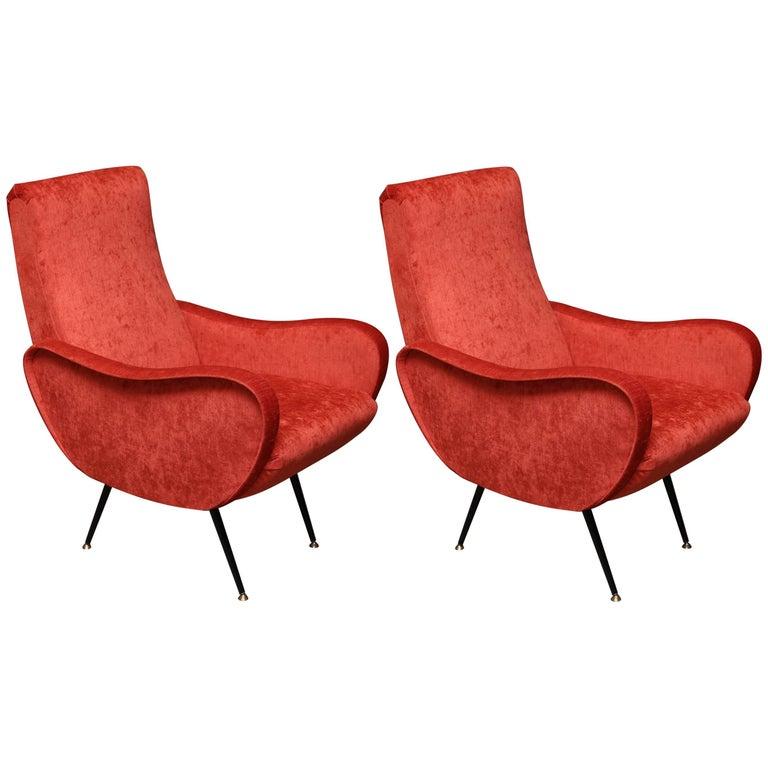 Midcentury Italian Armchairs in Style of Marco Zanuso