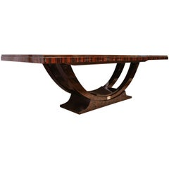 French Art Deco Dinning Room Table in Macassar