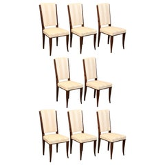 Set of Eight Art Deco French Dinning Chairs in Walnut