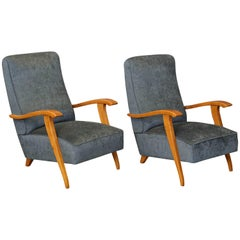 Midcentury French Chairs in Beechwood
