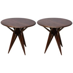 Art Deco French Side Tables in Walnut
