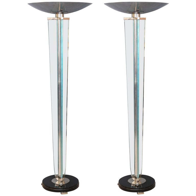 Art Deco French Lamps in Chrome and Glass in Style of Jacques Adnet