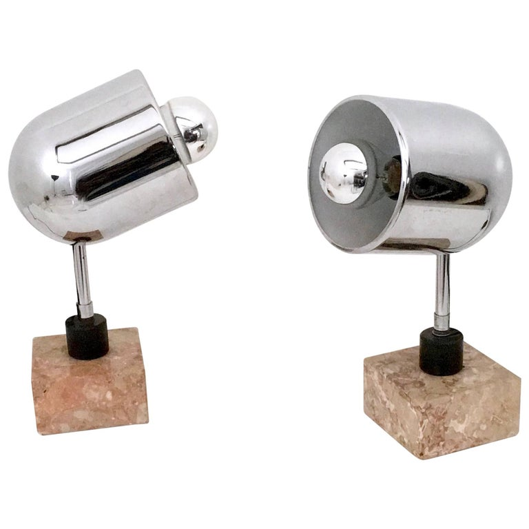 Pair of Chrome-Plated Table Lamps with a Squared Marble Base, Italy, 1970s
