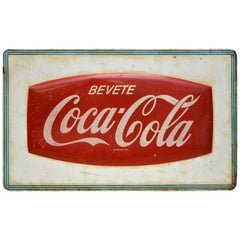 1950s Red and White Vintage Italian Metal Screen Printed Coca-Cola Sign