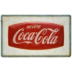 Rot/ Weiß Vintage Italienische Metall Siebdruck Coca-Cola Schild, 1950er Jahre