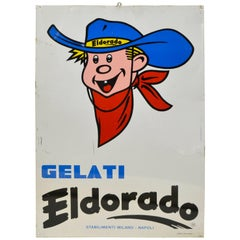 1970s Vintage Italian Metal Screen Printed Ice-Cream Gelati Eldorado Sign