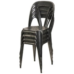 1930s Set of Four Vintage Stripped Metal French Multiples Bistro Stacking Chairs