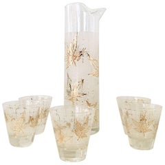 Vintage 22-Karat Frosted Leaf Motif Glass Drinks Set of Six Pieces
