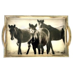 "21st Century Wood & Glass Handle ""Horse"" Tray"