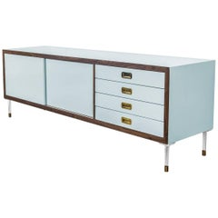 Modern Capri Blue Lacquered Credenza with Walnut trim, Brass Pulls & Lucite Legs