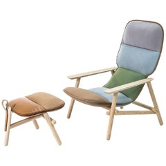 Moroso Lilo Lounge Chair with Ottoman by Patricia Urquiola in Tufted Fabric