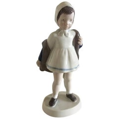 Bing & Grondahl Figurine of Girl Off Blue Coat #2387