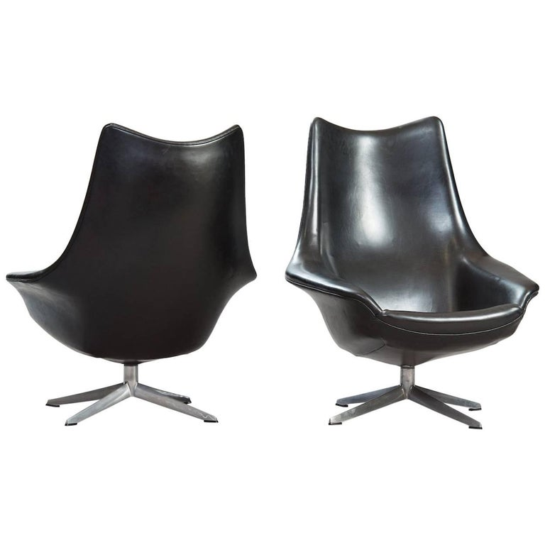 "H.W. Klein ""Pirouette"" Swivel Chairs, Set of Two"