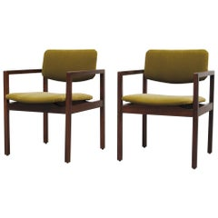 Pair of Modernist Armchairs in Dragon Green Velvet