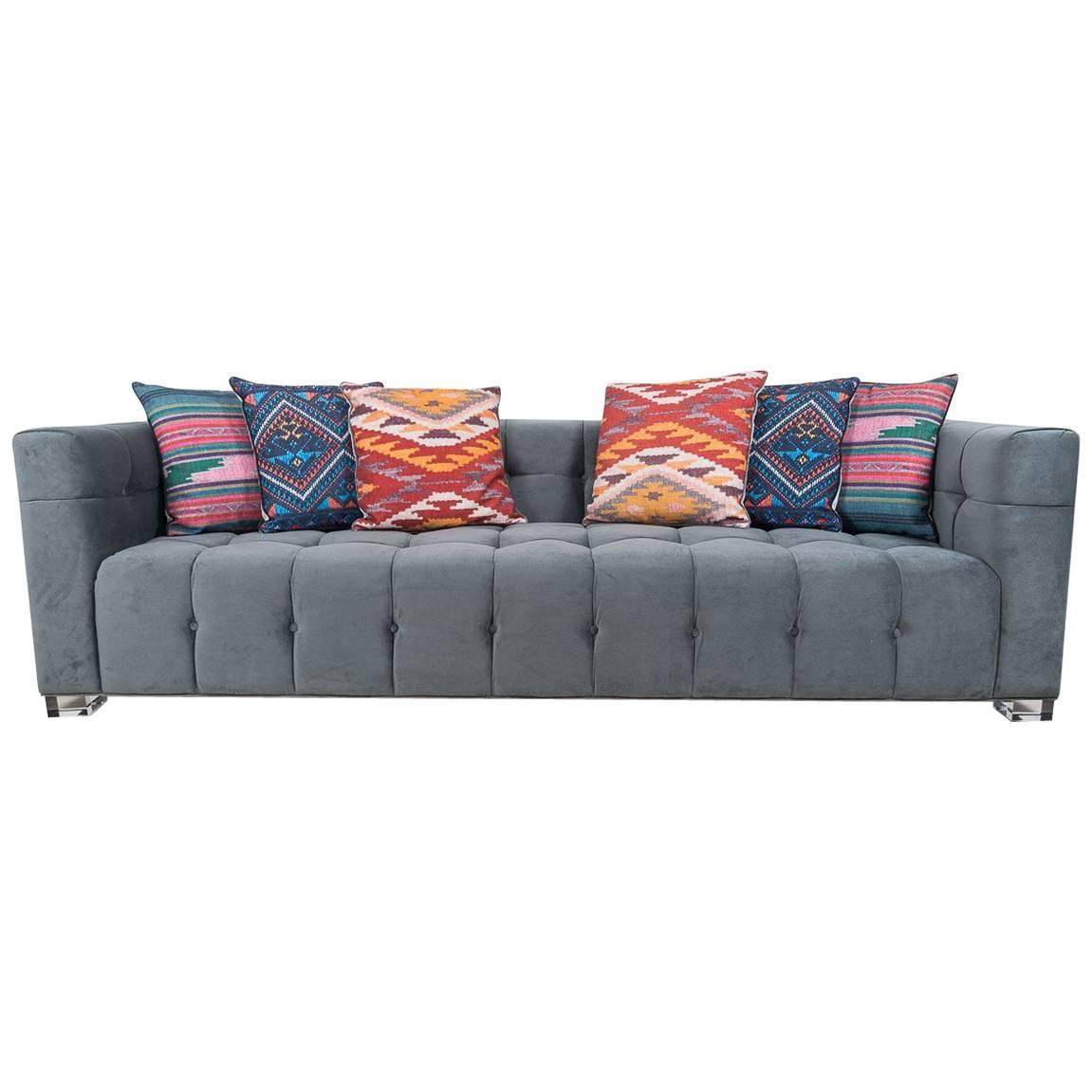 Modern Style Sofa In Charcoal Velvet With Biscuit Tufting And Lucite Block  Legs