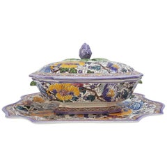 Gien Limited Edition French Hand-Painted Faience Soup Tureen and Stand