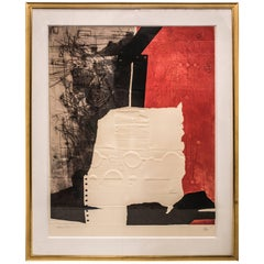 S XX Engraving , Spanish Artist Anthony Clavé, H/C,  Composition in Red