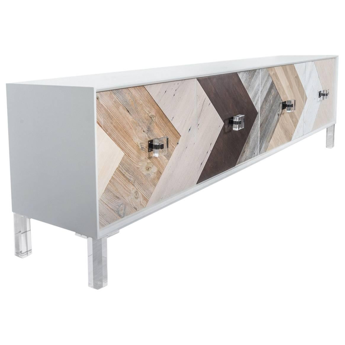Mid-Century Modern Credenza with Lucite Legs & Walnut Hickory Oak Recycled Wood