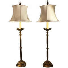Pair of Cast Brass Tall Buffet Lamps