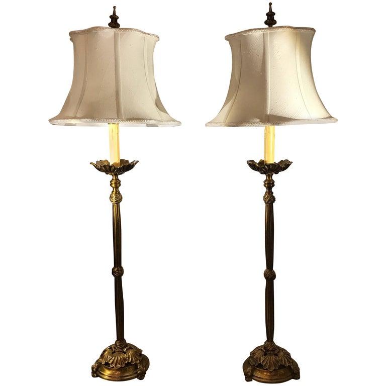 Pair of Cast Brass Tall Buffet Lamps