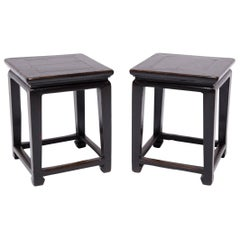 Pair of 19th Century Chinese Tapered Leg Occasional Tables
