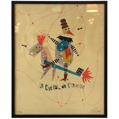 Original Vintage 'Le Cheval De Cirque' Screen Print by Wolfgang Roth
