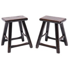 Pair of 19th Century Chinese Tapered Four Leg Stools