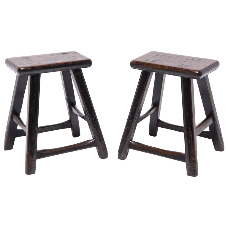 Pair of 19th Century Chinese Tapered Four Leg Stools For Sale