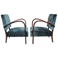 Italian Art Deco Armchairs in Beech and Velvet, 1940s, Set of Two